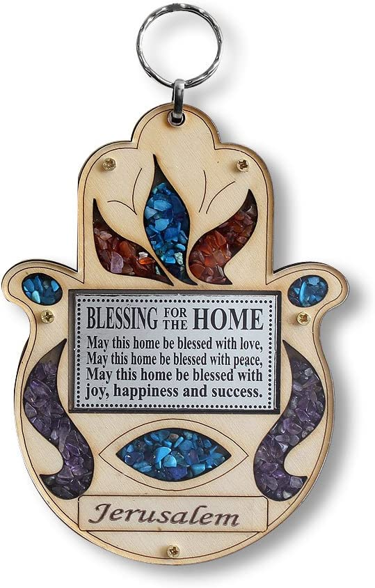 My Daily Styles Wooden Hamsa Blessing for Home - Good Luck Jerusalem Wall Decor with Simulated Gemstones
