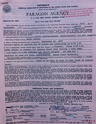 Paragon Garden (Muddy Waters Concert Contract 1975 Boston Garden - MA - ORIGINAL)