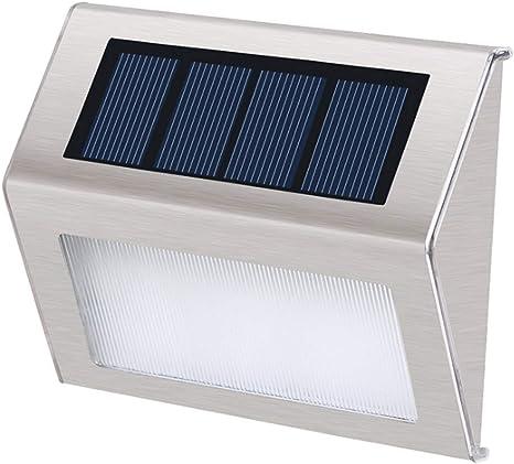 L&L Mini luz de Escalera Solar instalación rápida Ahorro de energía y protección del Medio Ambiente lámpara de jardín,Whitelight,10X2X8CM: Amazon.es: Deportes y aire libre