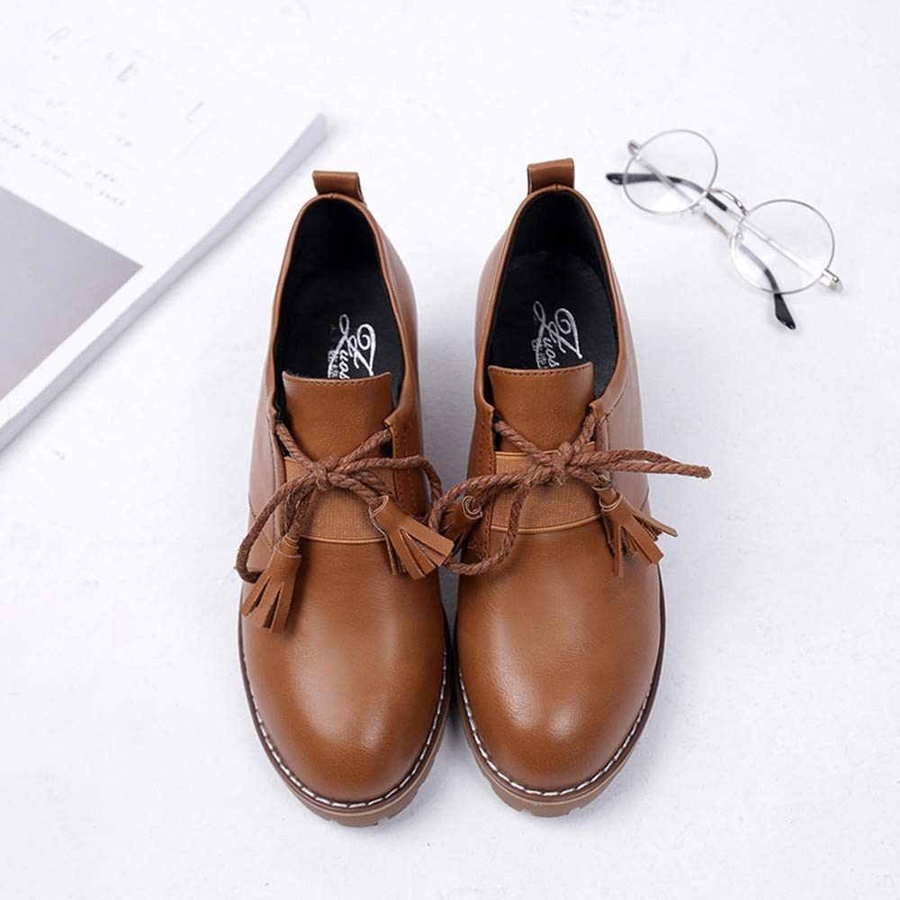 ❤ Botas Cortas de Invierno Mujer, Moda de Cuero para Mujer Borla Gruesa con Cordones Botas Zapatos Casuales Absolute: Amazon.es: Ropa y accesorios