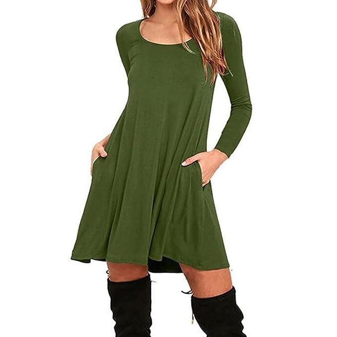 UNYU - Vestido - Manga Larga - para Mujer Verde Ejercito Verde Medium