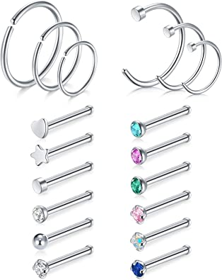 Jforyou 18g 20g Stainless Steel Nose Rings 18 22 Pcs Nose Studs Cz