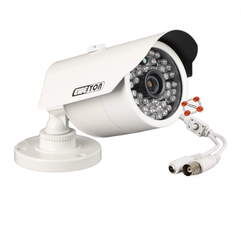 EWETON 1080P Hybrid Bullet Security Camera, 2.0 Megapixel HD 4-in-1 TVI/CVI/AHD/CVBS Waterproof Outdoor Surveillance Camera, 3.6mm Lens 48 LED 130ft IR Night Vision, Aluminum Alloy Housing by EWETON