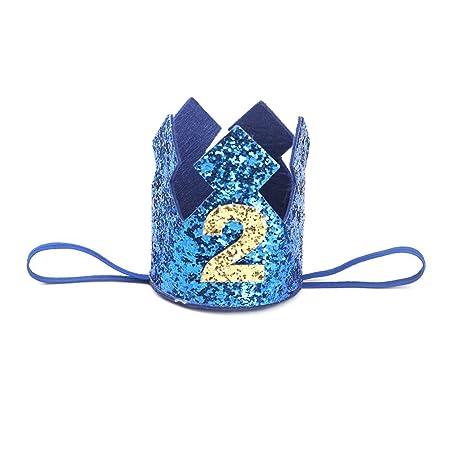Westeng Diadema para Niños Cabello Kawaii Cintas del Pelo Diseño de la Corona Banda Elástico Pelo Accesorio Cumpleaños y Fiesta (Azul-2 años de Edad)