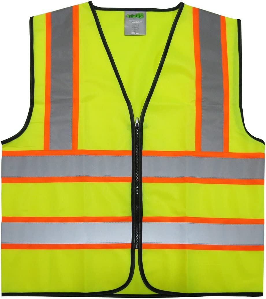 GripGlo Reflective Safety Vest, Bright Neon Color with 2 Inch Reflective Strips - Orange Trim - Zipper Front, XX-Large