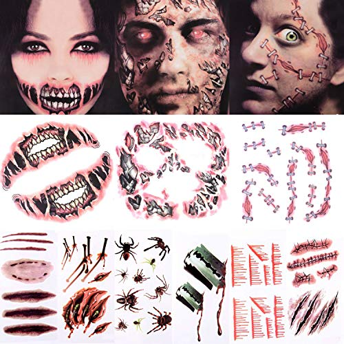 Halloween Scary Temporary Tattoo - Face Forever Popular Design Halloween Tattoo Kit for Women Man Big Mouth Tattoo Cyborg Face Trauma Series Stapled Tattoo Sticker (3+6 Sheets) -
