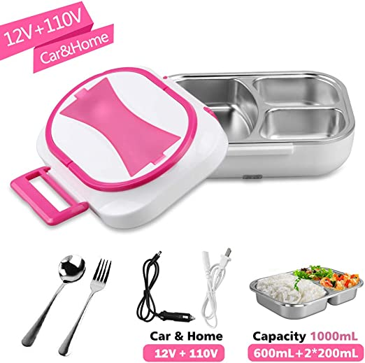 Portable Electric Heating Lunch Box Stainless Steel Bento Heater Office Home Use