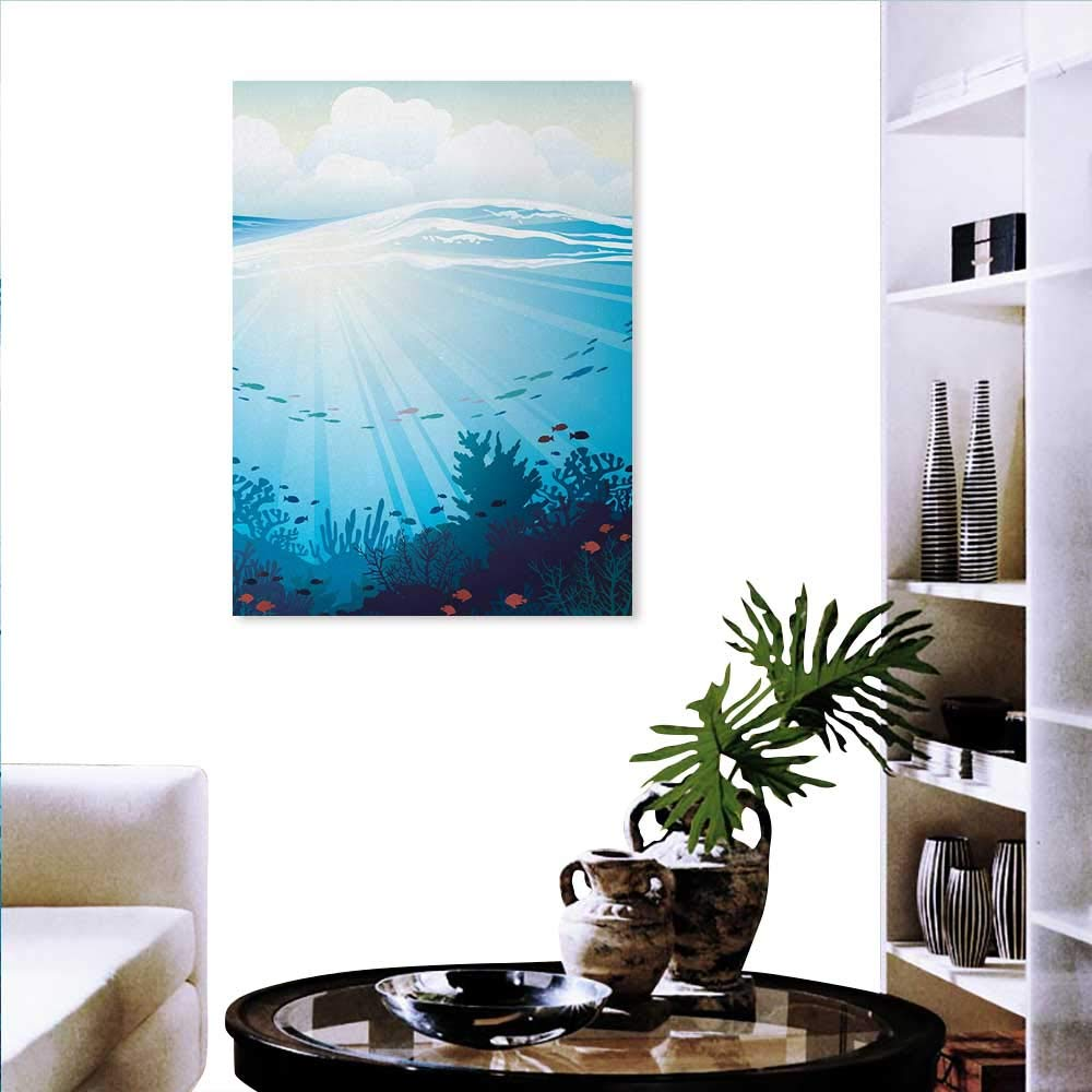 Amazon com cartoon stickers wall home ocean design fish aquarium image coral reef waves artwork print fashion stickers wall 16x24 teal turqoise blue