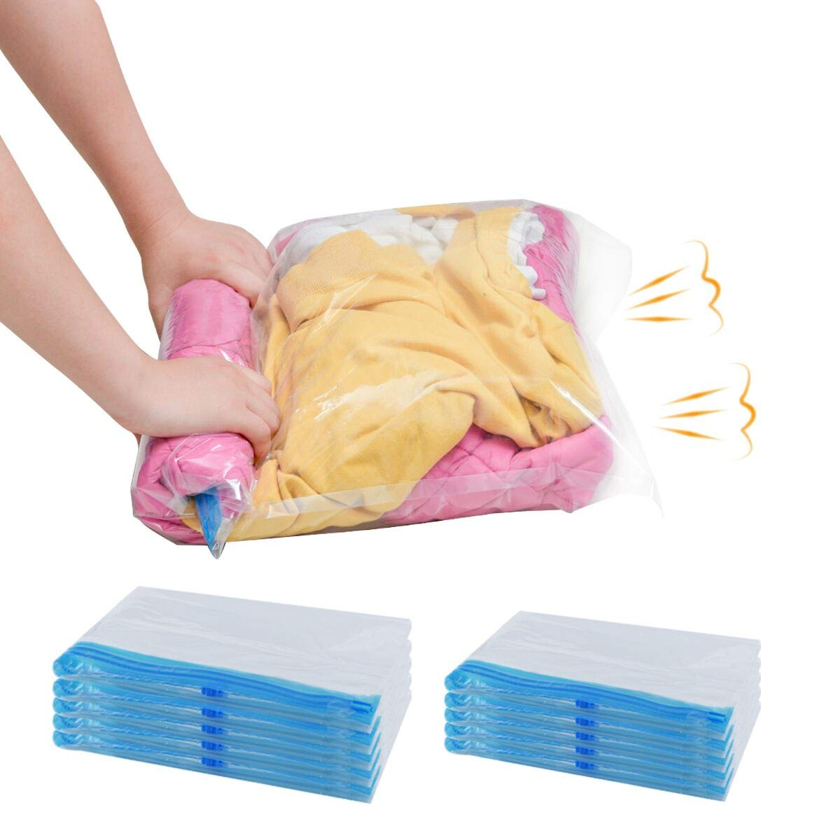 GONGSHI 10 Travel Space Saver Storage Bags (5 X-Large,5 Large), Roll Up Compression, No Need Vacuum Machine,Ideal for Home and Luggage Organizer