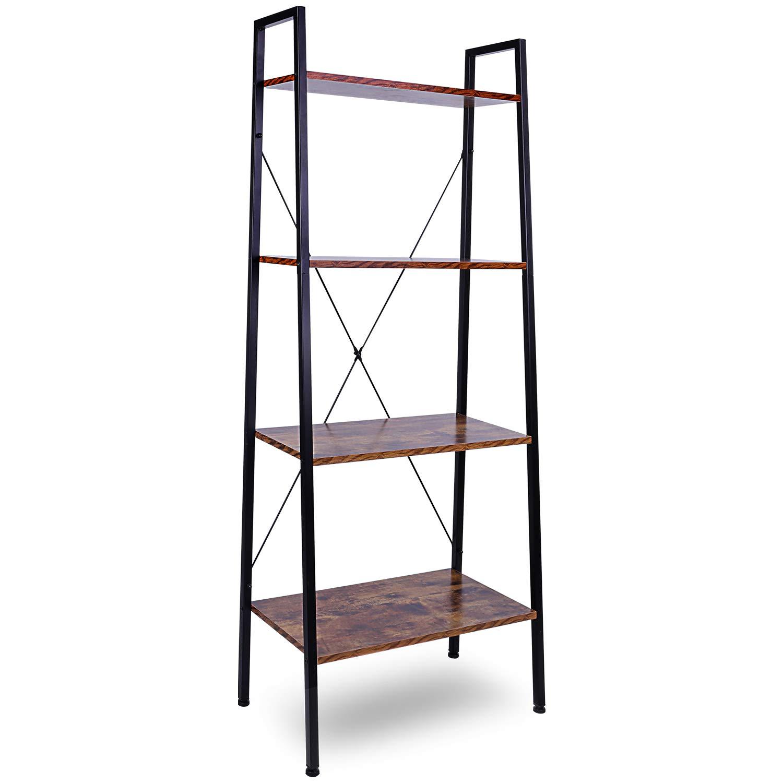 Leopard Ladder Shelf - Bookshelf - Multifunctional 4-Tier Ladder-Shaped Bookcase, Storage Rack Shelf, Bookrack Storage Shelves, Bathroom, Living Room (Rustic Brown)