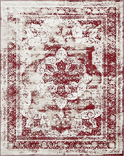 Burgundy Rug Persian (Traditional Persian Vintage Design Rug Burgundy Rug 8' x 10' FT (305cm x 244cm) Sofia Area Rug Inspired Overdyed Distressed Fancy)