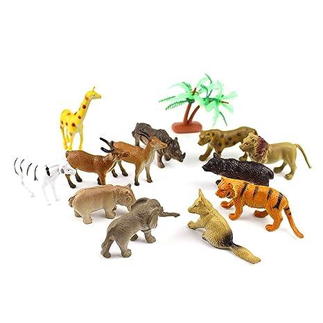 Consoladores 12 piezas Micro paisaje adornos plástico simulado Animal figura juguete jardín decoración