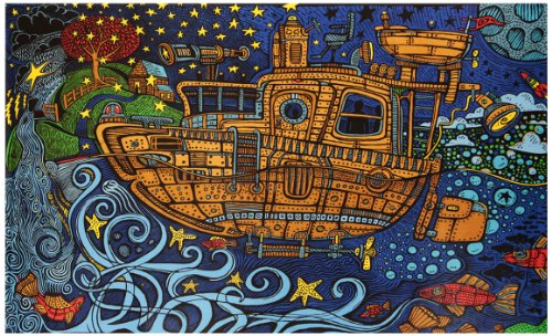 - Sunshine Joy 3D Steampunk Tugboat Tapestry Wall Hanging Trippy Table Cloth Magical Dorm Decor - Huge 60x90 Inches