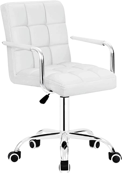 Amazon Com Furmax Mid Back Office Task Chair Ribbed Pu Leather Executive Chair Modern Adjustable Home Desk Chair Retro Comfortable Work Chair 360 Degree Swivel With Arms White Kitchen Dining