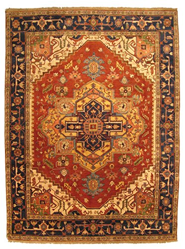 EORC P10BRT Hand Knotted Wool Serapi Rug, 6 by 9-Feet