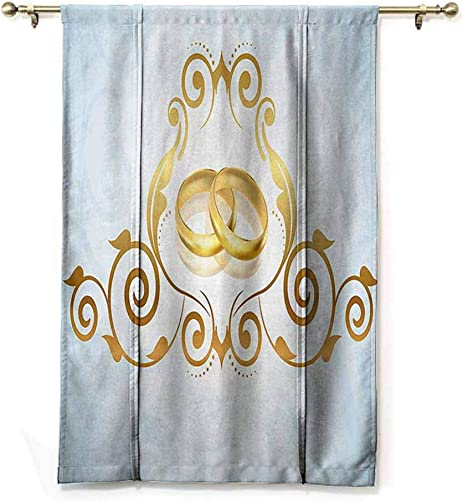 DONEECKL Wedding Decorations Light Luxury high-end Curtain Vintage Style Victorian Ornaments on Blue Backdrop Rings Classical Durable W48 xL72 Light Blue Gold
