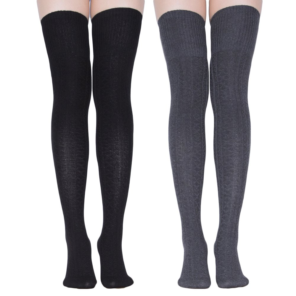 TooPhoto Women's Cotton Knee High Socks Casual Solid Triple Stripe Color Fashion B3 [lengthen style]Black Dark Gray