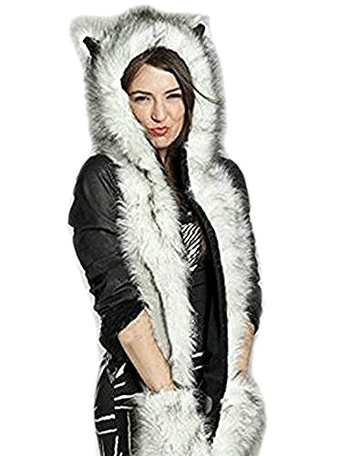 Tr/ès Chic Mailanda Fell M/ütze Damen Kapuzenschal Winter Pl/üschm/ütze Tierm/ütze Ohren mit Handschuhe Schal Kunstfell
