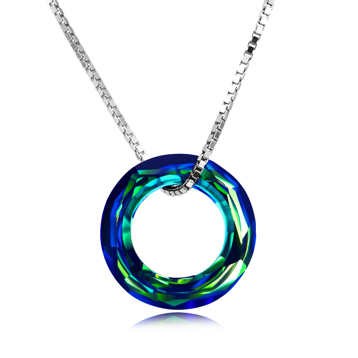 316f9aecc912c8 AOBOCO Blue Circle Crystal Necklace 925 Sterling Silver Chain, Multi Color  Round Simple Pendants with Swarovski Crystals Fine Jewelry Gift for Women  Girls ...