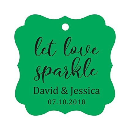 86ccdd6ce34e Darling Souvenir Personalized Fancy Frame Paper Tags Wedding Sparklers Let  Love Sparkle Custom Hang Tags-Green-100 Tags
