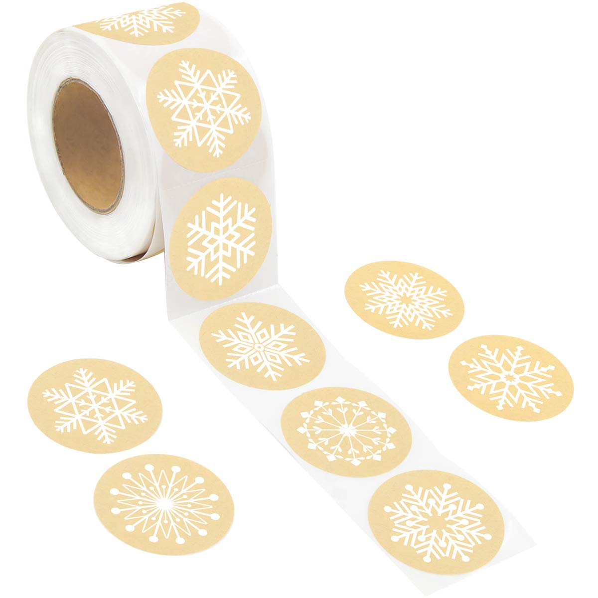 Snowflakes Christmas Stickers Holiday Decorative Presents Stickers 500Pcs Per Roll 8 Different Designs by Fancy Land