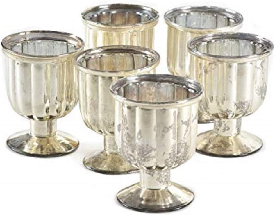 """Serene Spaces Living Set of 6 Antiqued Silver Mercury Glass Finish Pedestal Votive Candle Holders, Ideal for Weddings, Events, Measures 4.25"""" Tall and 3.25"""" Diameter"""