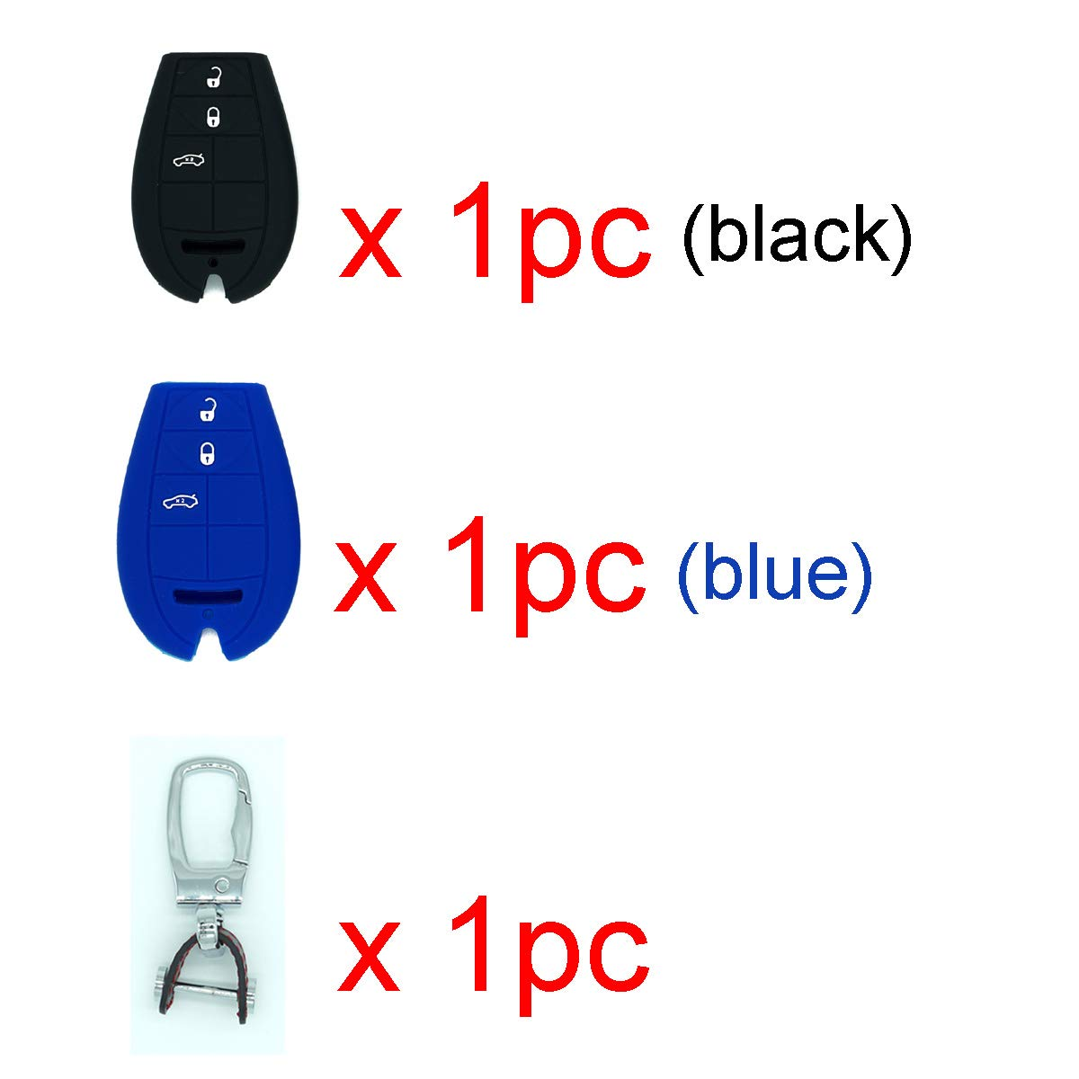 Royalfox 3 4 Buttons Silicone Smart Remote Key Fob case Cover Keychain for Dodge Ram Magnum Challenger Charger Durango Journey,Chrysler 300,Jeep Grand Cherokee Black and Blue case with 1 Keychain