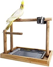 Borange Parrots Playstand Bird Playground Wood Perch Gym Training Stand Playpen Bird Toys Exercise Playgym for Electus Cockatoo Parakeet Conure Cockatiel Cage Accessories Exercise Toy (Include a Tray)