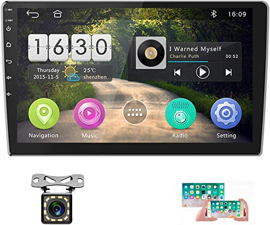 Double Din Car Stereo 9 FM//AM//SUB Android 1+16G Navigation Stereo Touch Screen Car Radio with Bluetooth Indash Head Unit Support WiFi//Mirror Link//Backup Camera//DVR//USB//SWC Car Multimedia Player