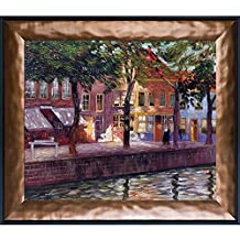 overstockArt La Pastiche Canal in Zeeland 1896-1899 Artwork by Emile Claus with Copper and Black Combo Frame