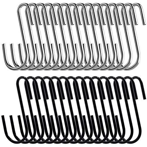 30 Pack S Shaped Hooks Silver Black Stainless Steel Heavy Duty S Hooks Hanging Hangers Pan Pot Holder Rack Hanging Hooks for Kitchen, Bathroom, Bedroom, Garden and Office ()