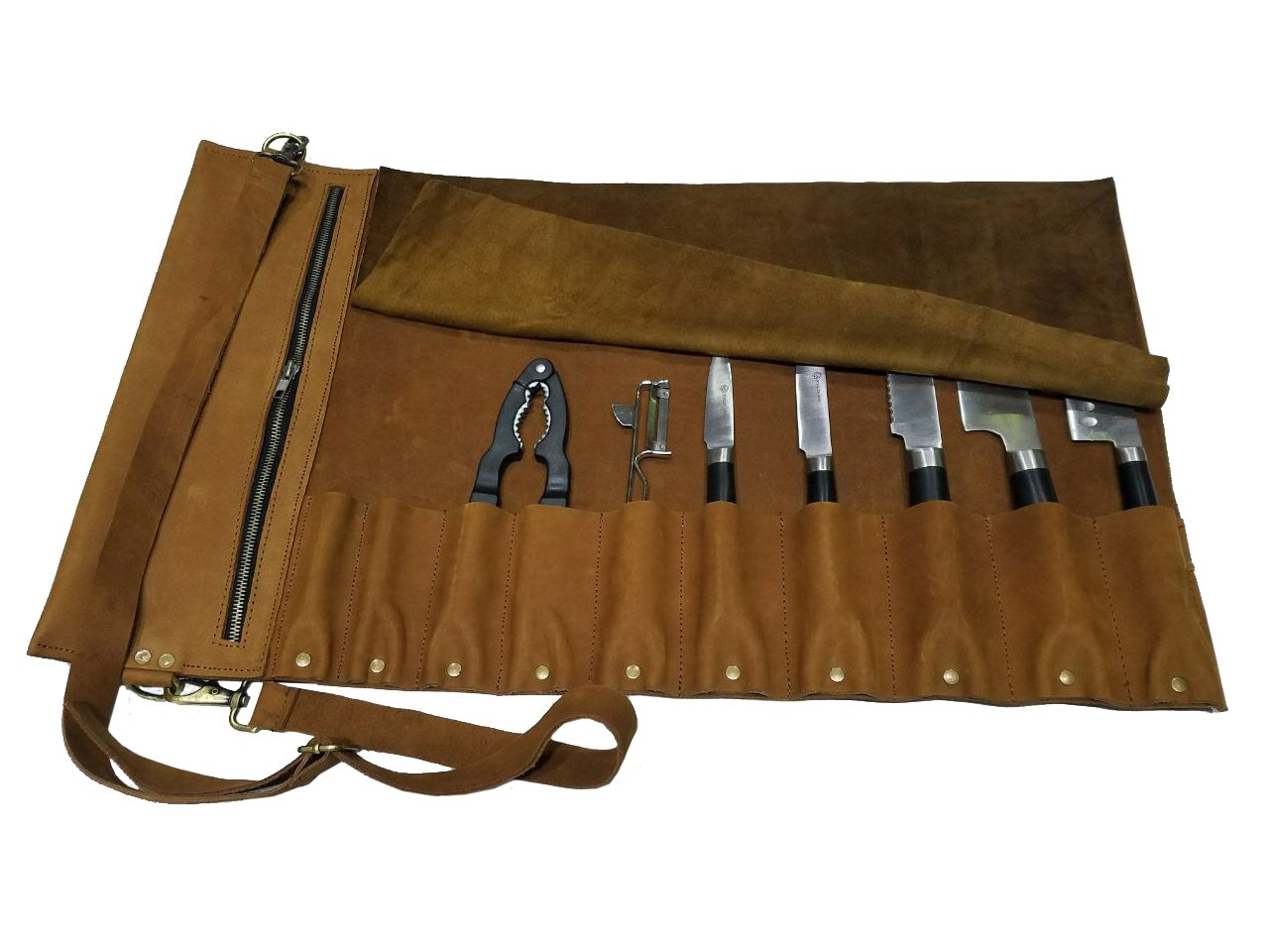 Professional Chef Bag Lightweight Genuine Premium Vinrage Tan Leather 10 Pockets Knife Bag/Chef Knife Roll #K02-S
