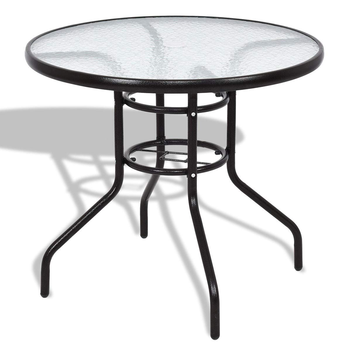 EnjoyShop Patio Round Table Steel Frame Dining Table Coffee Table for Lawn Backyard Balcony Pool