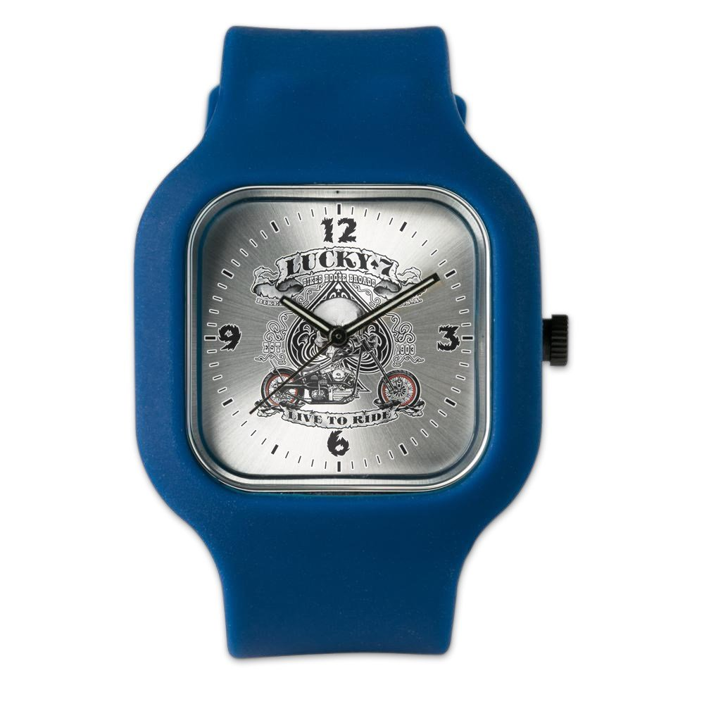 Navy Blue Fashion Sport Watch Lucky 7 Bikes Live To Ride Skull