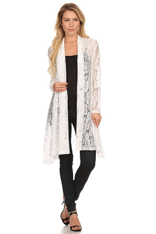 Langarm Maxi Cardigan aus Spitze, Boho Style Strickjacke, Crochet Häkelspitze Brautmantel, Top Blumen-Muster weiß - schwarz One Size Nachtigall+Lerche