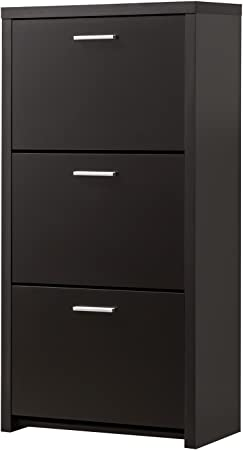 Black Finish 3 Drawer Tall Shoe Rack Cabinet by Coaster 900604