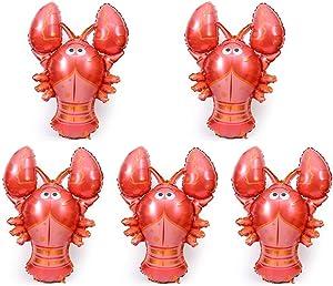 5 PACK Jumbo Foil Balloon Lobster Foil Balloon Cartoon Balloons for Kids Birthday Party Decoration Supplies