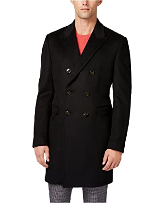 cdc16bed5f9 Ralph Lauren Men s LWCV02EC0000 Double-Breasted Wool Blend Overcoat - Black  - 36R