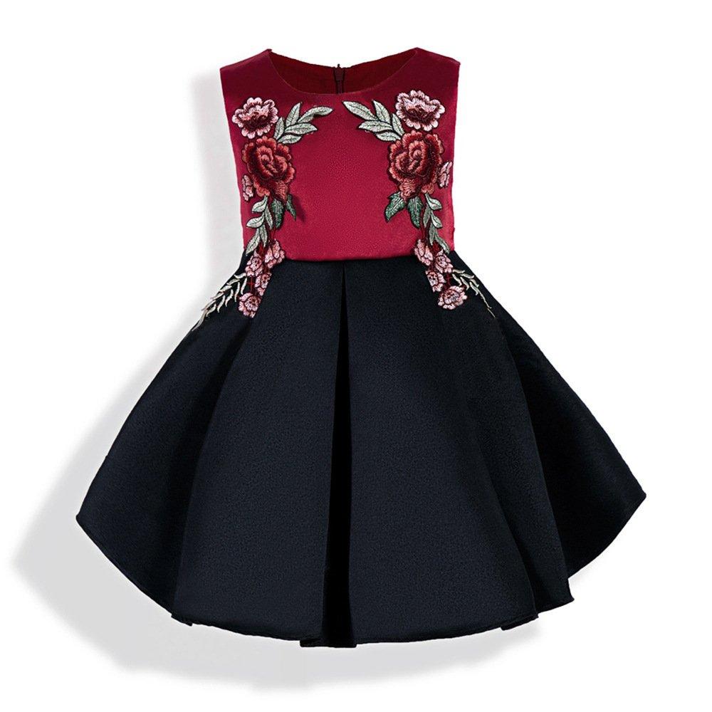 Mrsrui Little Girl Dress Kids Ruffles Lace Party Wedding Dresses Birthday Gift (90#)