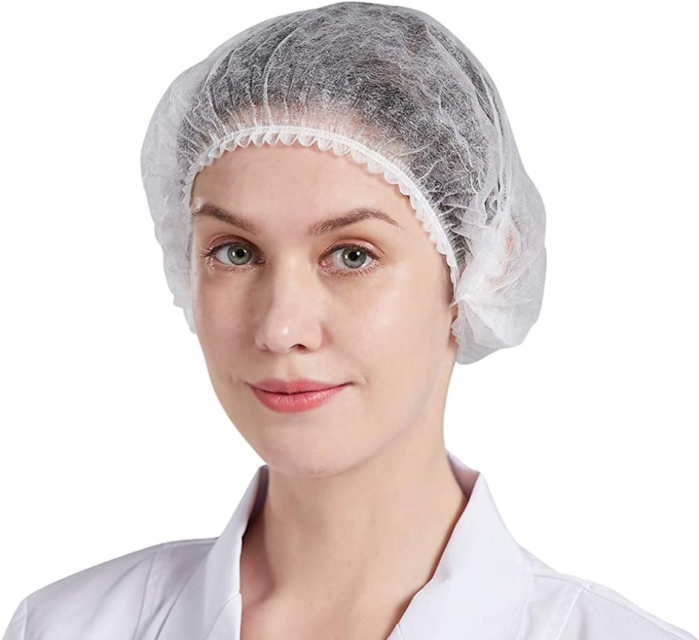 Nanxson 100 Pcs Disposable Bouffant Caps,Food Service Hair Nets,Hair Head Cover Net, for Spas, Salons,Factory,Food CF9044 (1 Pack(100 Pieces), White)