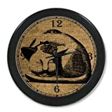 Japan Fat Cat Vintage Art Burlap Black Color Wall Clock Decorative 10 Inch , Personalized Wall Clocks ,Large Numbers