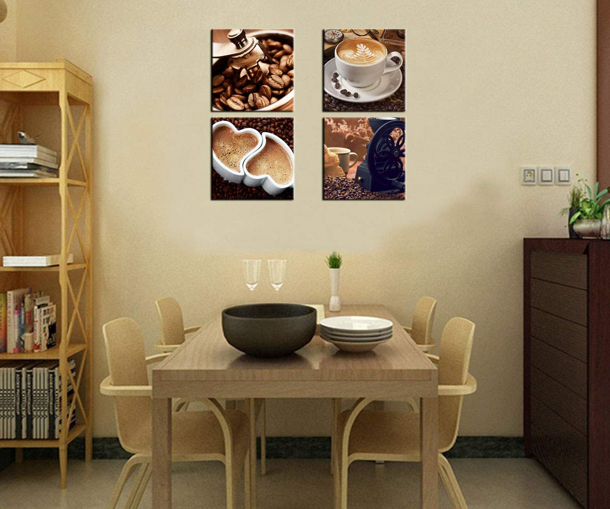 Kitchen Canvas Wall Art Coffee Bean Coffee Cup Coffee Grinder Canvas Pictures Large Modern Artwork Prints for Dining Room Home Decorations 16 x 16 x 4 Pieces Framed Ready to Hang