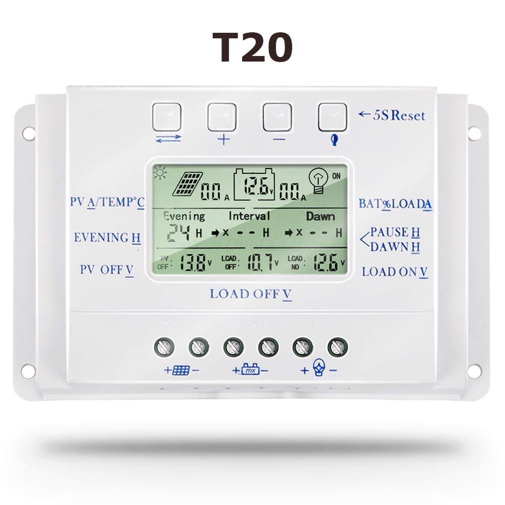 SolaMr 20A Regulador de Carga Solar 12V/24V Identificación Automática Voltaje Panel Solar Regulador de Inteligencia con Pantalla LCD - T20