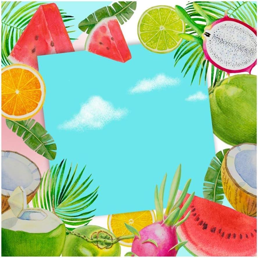 Yeele 9x9ft Photography Background Fresh Tropical Fruits Painting Watermelon Dragon Fruit Orange Coconut Palm Leaves Photo Backdrop Birthday Party Shoot Vinyl Studio Props