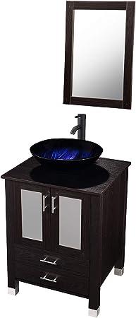 24 Inch Bathroom Vanity And Vessel Sink With Vanity Mirror Modern