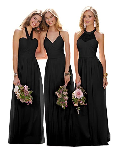 Dresses Women Evening Dress Chiffon Pleated Bridesmaid Formal Prom Gown Long Dresses
