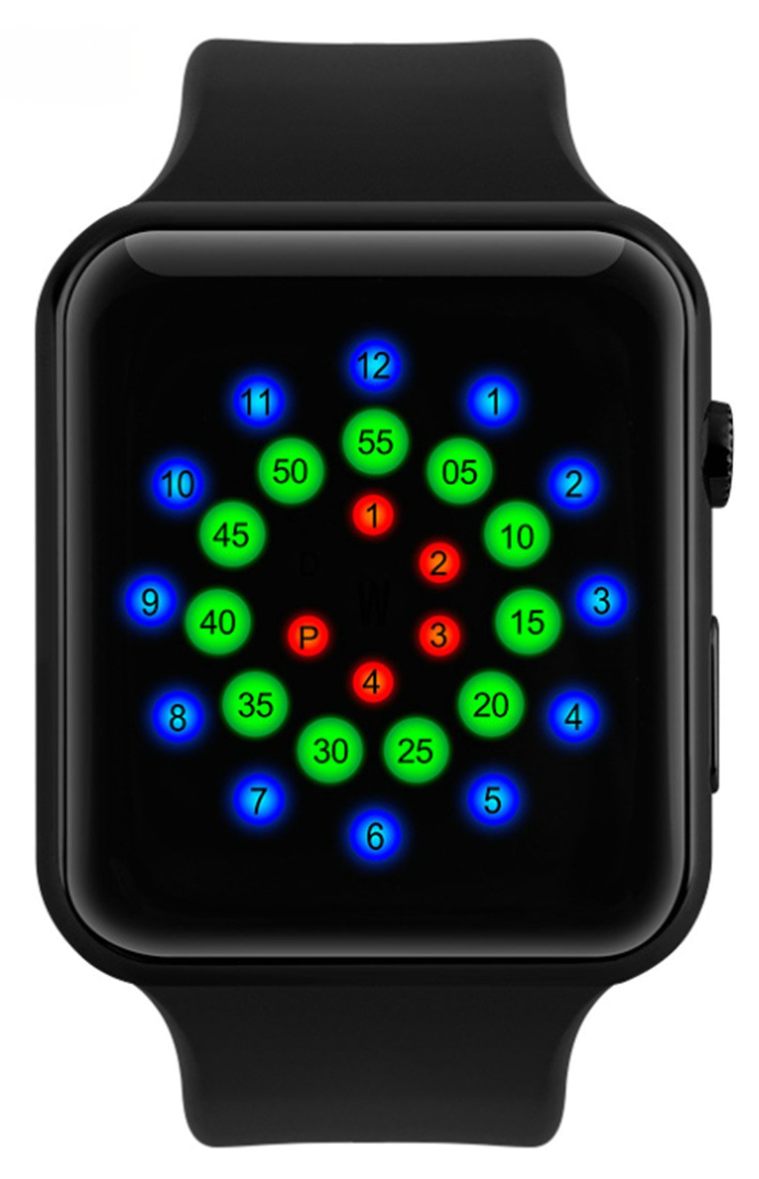 WUTONYU Unisex Digital LED Display Time Date Week Sports Waterproof PU Band Wrist Watch (Black)