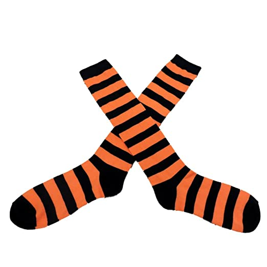 f4316497d Image Unavailable. Image not available for. Color  My Halloween Womens Long  Black   Orange Striped Knee Socks