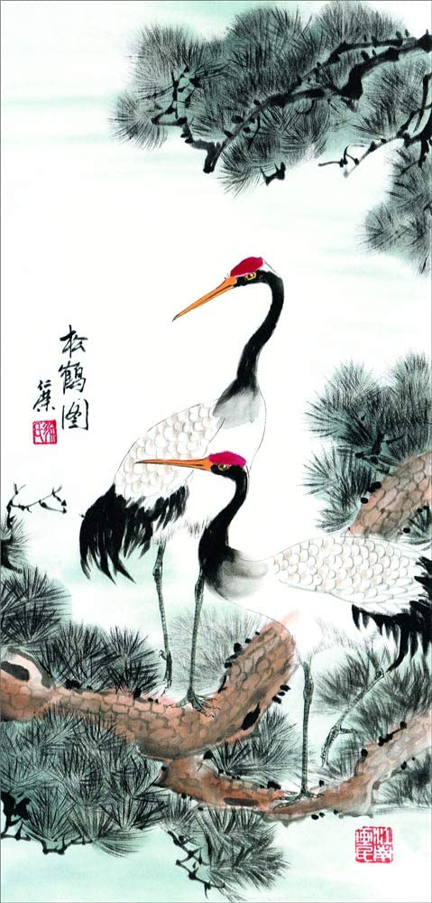 DazzlelightArt Asian Wall Scroll Art, Fengshui Home Decoration Artwork, Chinese Traditional Silk Scroll Painting Wall Pictures - Crane