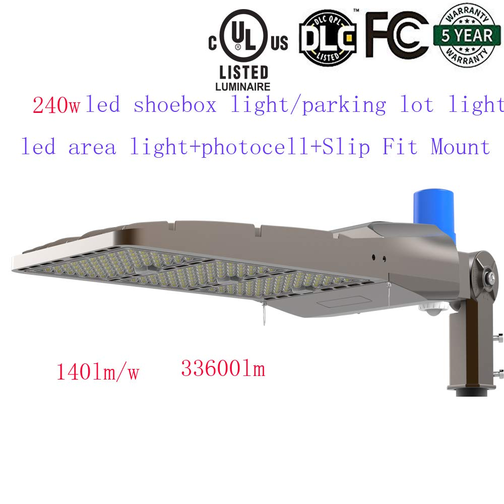 SDYK,Dimmable 240w Led Parking lot Light/led Area Light,5700K,33,600LM (Higher Than 200w led parkinglot Light, 1000W Eq), AC100-277V, Free Photocell and Slip Fit Mount,IP6 UL DLC 5 Years Warranty